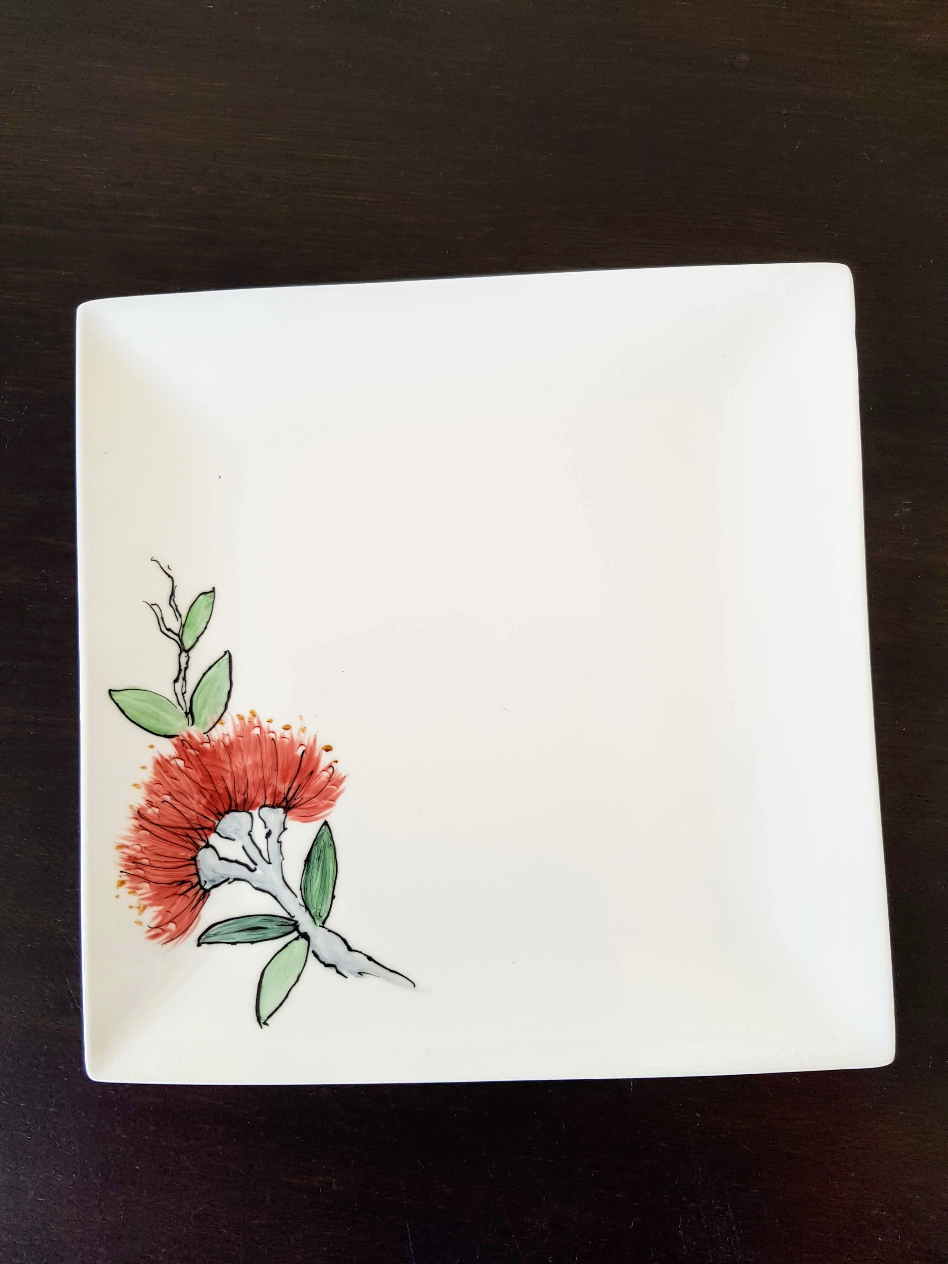 Square plate on dark